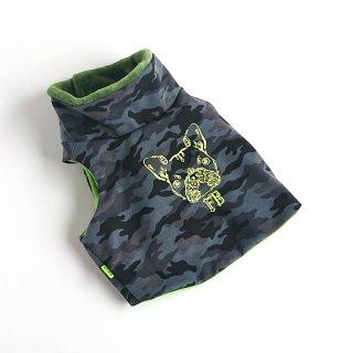 【規格サイズ】ハイネックベスト/フリース/迷彩柄/黒系×グリーン