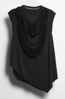 Irregular hem fringe T-shirt<br/>/Black