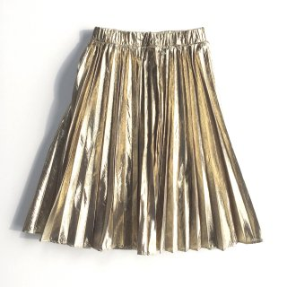 Metallic pleat skirt<br>/Gold