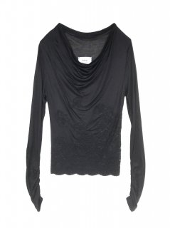 Trimming Lace Drape Tops<br/>/Black