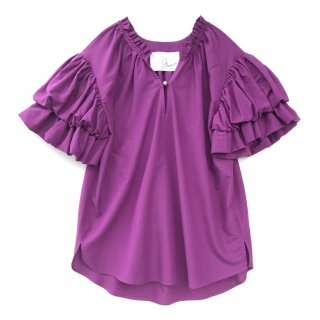 <br/>Double balloon sleeve blouse<br/>/Purple