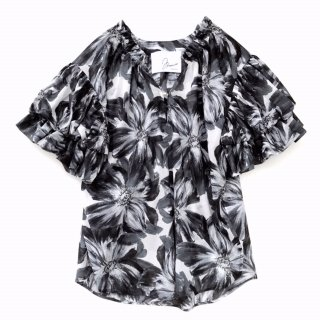 <br/>Double balloon sleeve blouse<br/>/Flower print