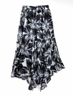 <br/>Irregular hem Skirt<br/>/Flower print
