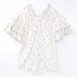 <br/>Double balloon sleeve blouse<br/>/Star Embroidery