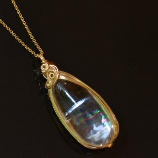 【一点もの】レインボー水晶(アイリスクォーツ)の14KGFワイヤーラップペンダント