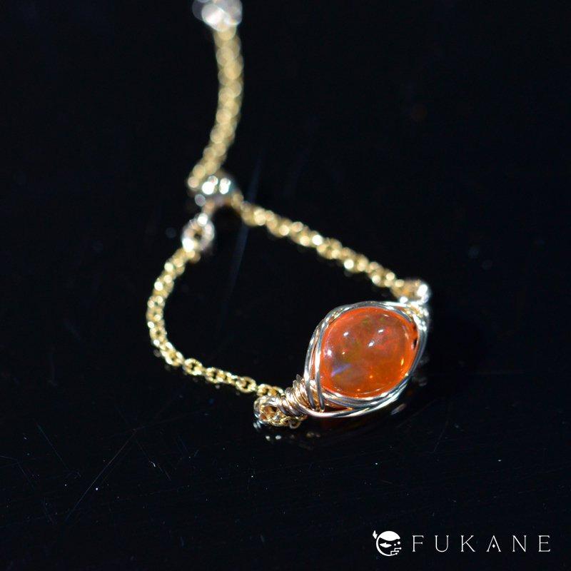 ファイヤーオパール(エチオピア産)/14KGFワイヤーラップチェーンリング