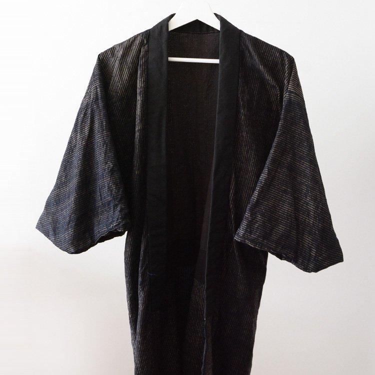 襤褸 着物 裏面 クレイジーパターン ジャパンヴィンテージ | Japanese Boro Kimono Jacket Crazy Pattern Stripe Vintage 30〜40s