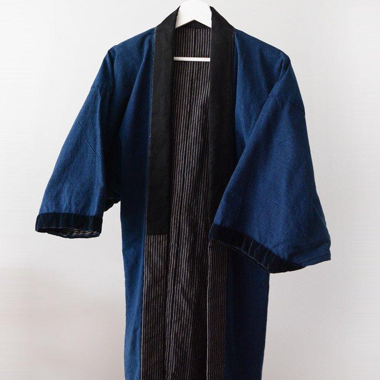 野良着 藍染 古着 木綿 縞模様 ジャパンヴィンテージ 30年代 着物 | Noragi Men Indigo Kimono Jacket Japan Vintage Cotton 30s