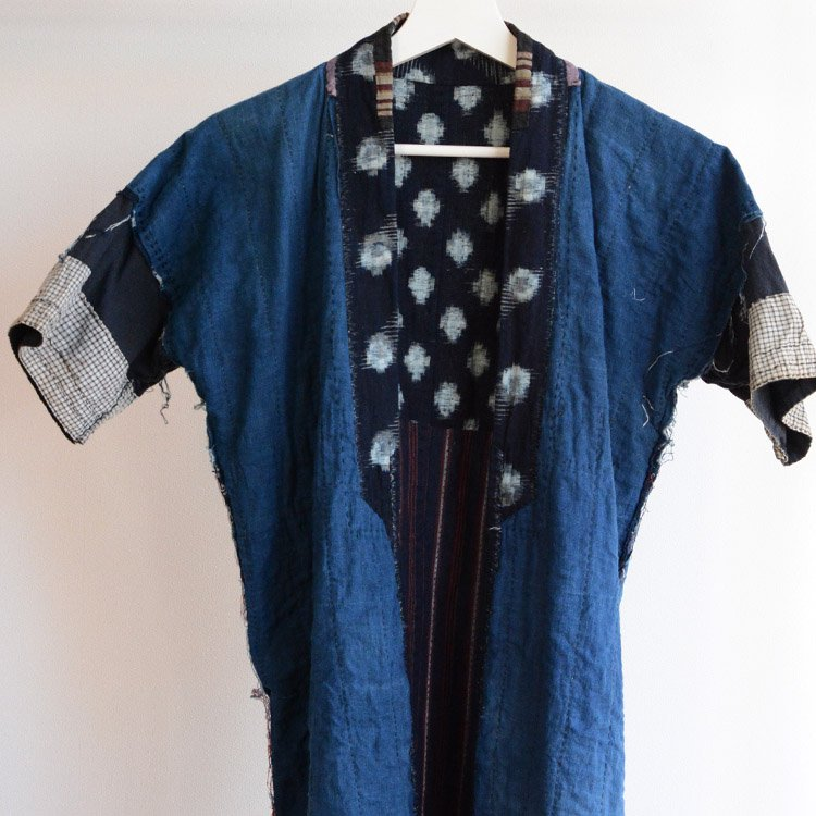 刺し子 野良着 藍染 クレイジーパターン ジャパンヴィンテージ 明治 大正 | Sashiko Noragi Jacket Indigo Stripe Crazy Japan Vintage