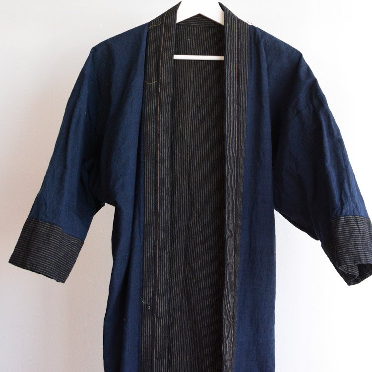 野良着 藍染 木綿 縞模様 ジャパンヴィンテージ 大正 昭和 | Noragi Jacket Indigo Kimono Cotton Stripe Japan Vintage
