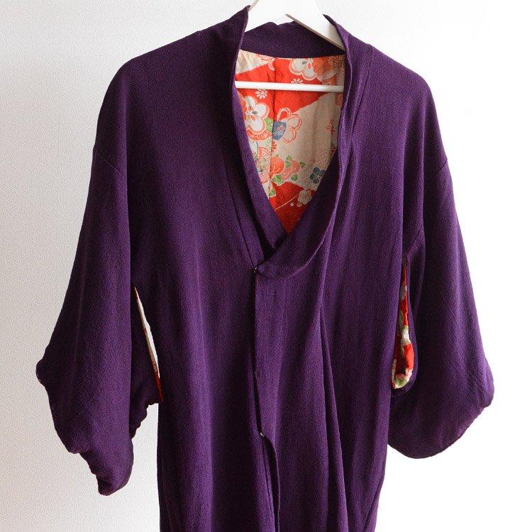 道行コート アンティーク ちりめん 襤褸 リペア ジャパンヴィンテージ | Michiyuki Coat Kimono Purple Japan Vintage