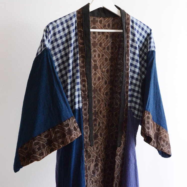 着物 クレイジーパターン 藍染布 ジャパンヴィンテージ 昭和 | Kimono Jacket Vintage Crazy Pattern Indigo Fabric Japanese