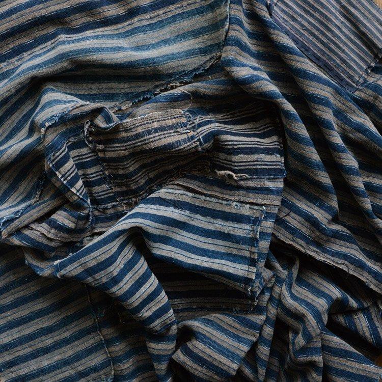 襤褸布 藍染 木綿 つぎはぎ 縞模様 ジャパンヴィンテージ ファブリック 明治 大正 | Japanese Fabric Vintage Boro Indigo Cotton Textile