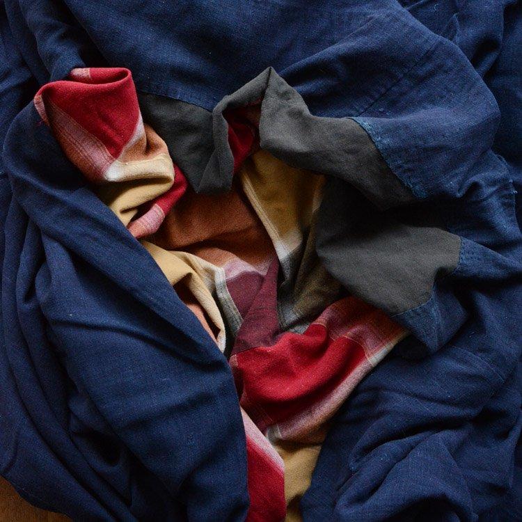 布団皮 古布 藍染 襤褸 つぎはぎ 木綿 ジャパンヴィンテージ ファブリック | Japanese Fabric Vintage Boro Indigo Futon Cotton Textile