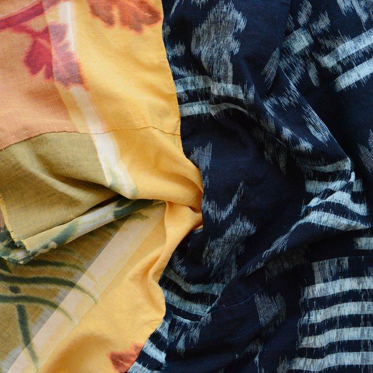 古布 藍染 絣 鳳凰 木綿 クレイジーパターン ジャパンヴィンテージ | Indigo Fabric Japanese Vintage Kasuri Crazy Pattern Textile