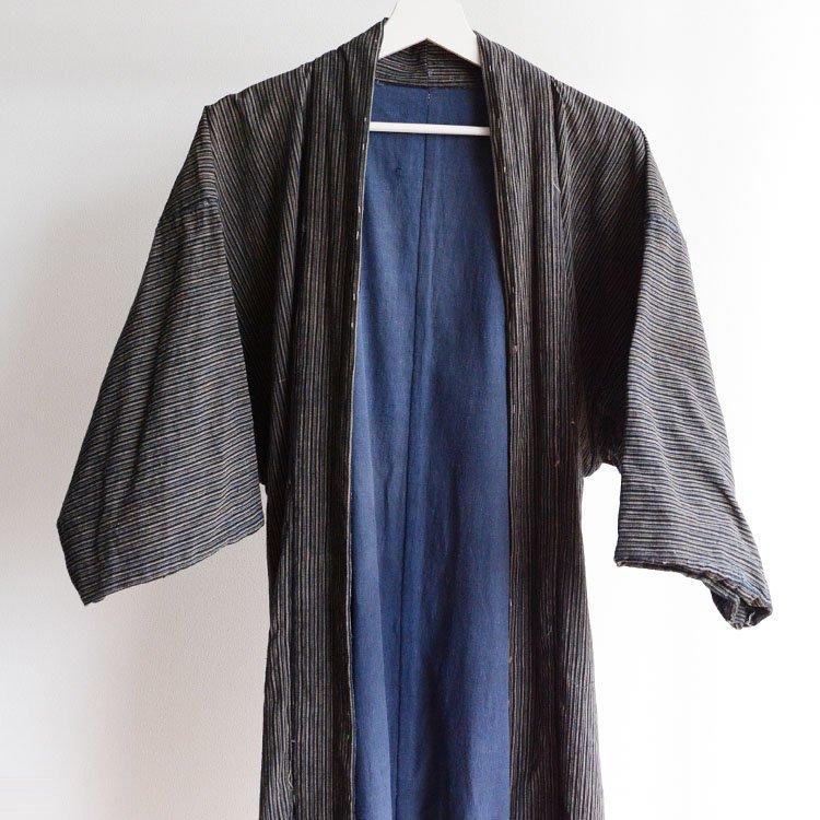野良着 藍染 縞模様 襤褸 羽織 着物 ジャパンヴィンテージ 大正 昭和   Noragi Jacket Haori Kimono Japan Vintage Indigo Stripe Boro
