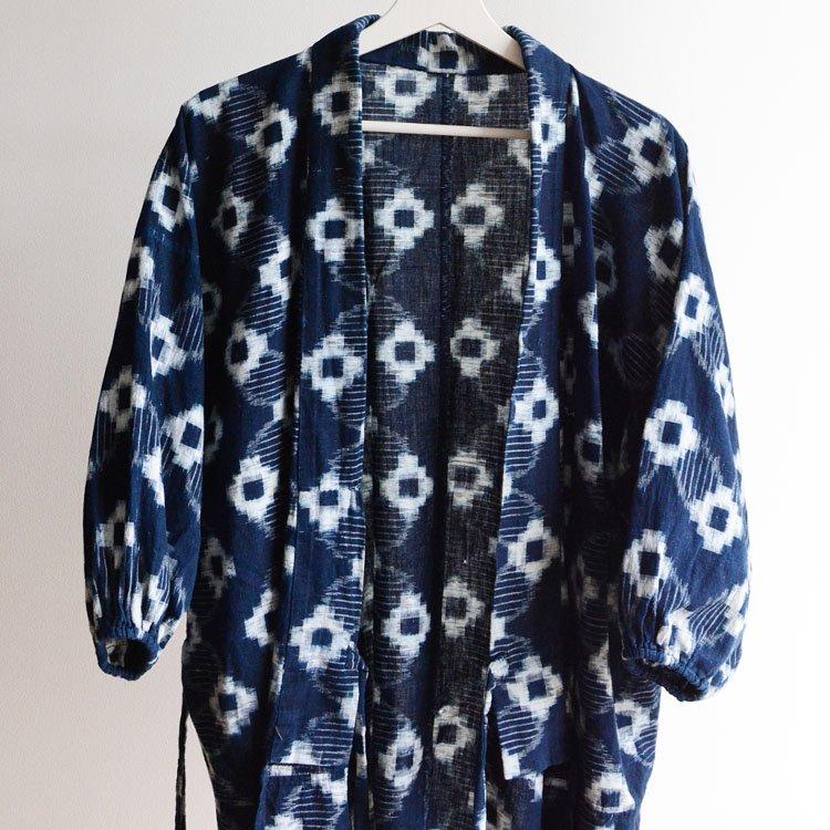 野良着 藍染 絣 木綿 上っ張り 着物 ジャパンヴィンテージ   Noragi Jacket Japanese Vintage Kimono Indigo Kasuri Fabric