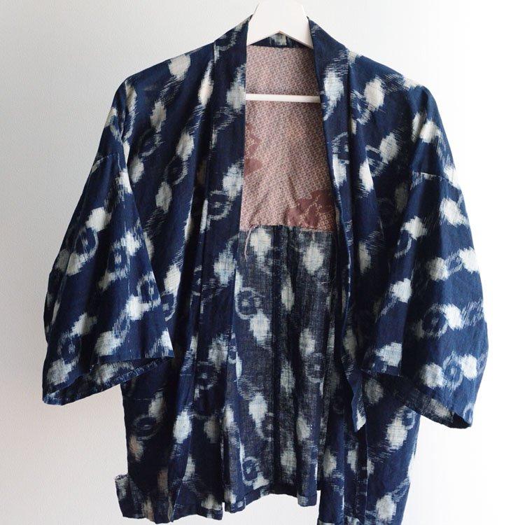 野良着 藍染 絣 着物 木綿 ジャパンヴィンテージ 30年代   Noragi Jacket Kasuri Fabric Indigo Kimono Japan Vintage 30s
