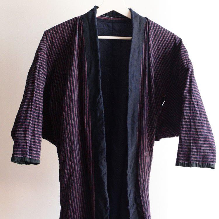 <img class='new_mark_img1' src='https://img.shop-pro.jp/img/new/icons8.gif' style='border:none;display:inline;margin:0px;padding:0px;width:auto;' />野良着 藍染襟 ジャパンヴィンテージ 木綿 縞模様 30〜40年代 | Noragi Jacket Japan Vintage Kimono Cotton Stripe 30〜40s