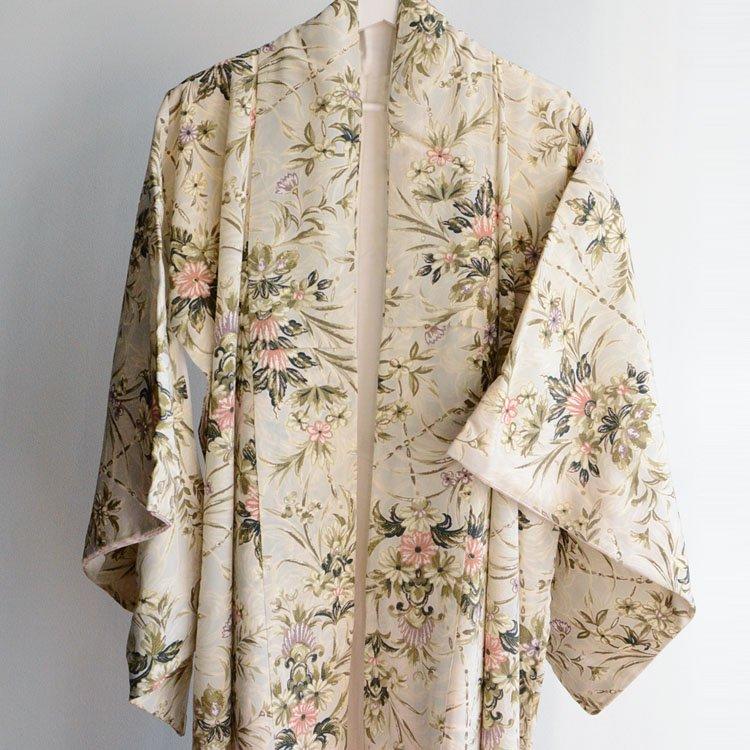 アンティーク着物 広衿 花柄 ジャパンヴィンテージ | Kimono Japanese Vintage Long 60s Flower Pattern