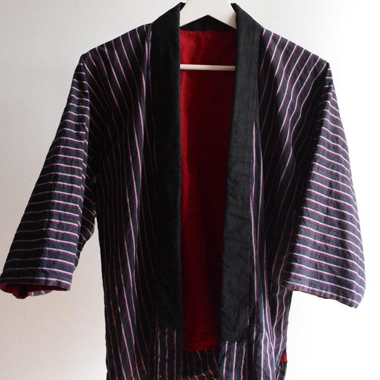 野良着 木綿 着物 縞模様 ジャパンヴィンテージ 30〜40年代   Noragi Jacket Japan Vintage Cotton Stripe 30〜40s