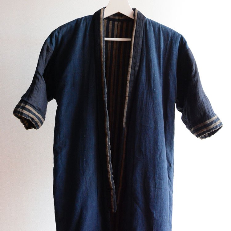 綿入れ半纏 藍染 クレイジーパターン 木綿 ジャパンヴィンテージ 大正 | Hanten Jacket Padded Japanese Vintage Indigo Kimono Boro