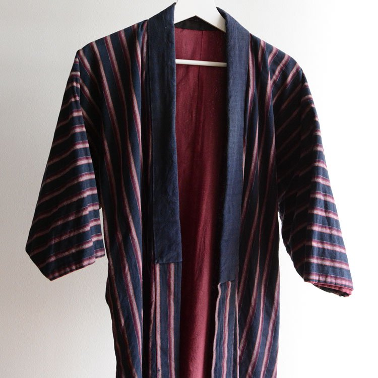 <img class='new_mark_img1' src='https://img.shop-pro.jp/img/new/icons8.gif' style='border:none;display:inline;margin:0px;padding:0px;width:auto;' />野良着 古着 藍染 木綿 縞模様 ジャパンヴィンテージ 30〜40年代 | Noragi Jacket Japan Vintage Indigo Kimono Cotton Stripe 30〜40s