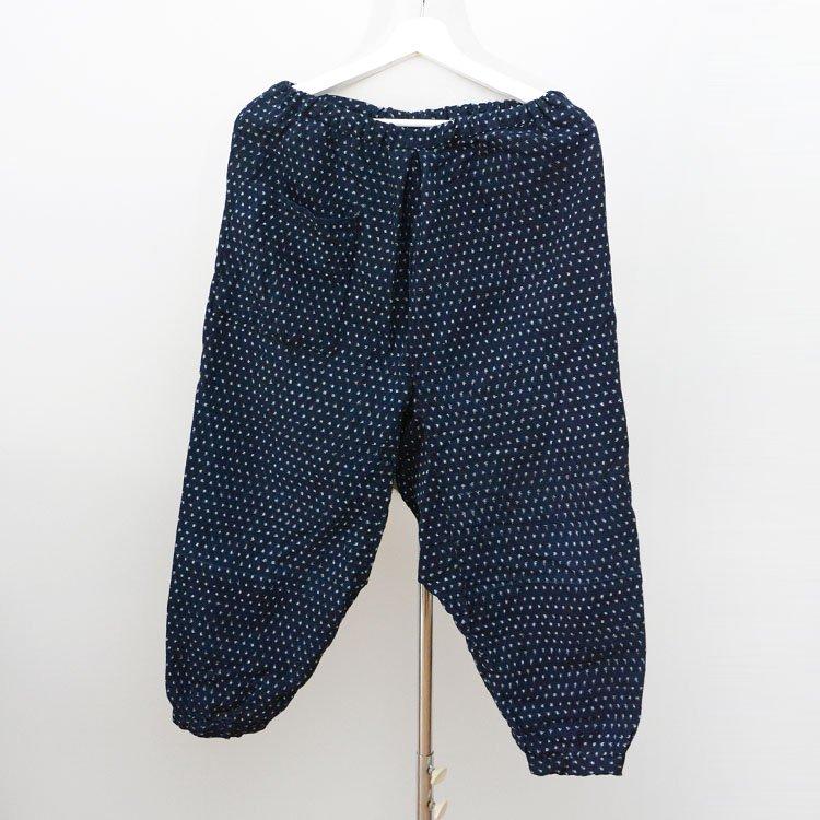 野良着 藍染 もんぺ パンツ 蚊絣 着物 ジャパンヴィンテージ 昭和中期   Monpe Pants Noragi Indigo Kasuri Fabric Japan Vintage Cotton