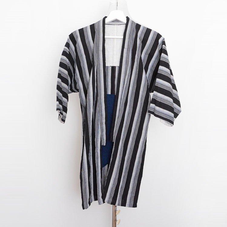 野良着 黒 木綿 着物 縞模様 ジャパンヴィンテージ 風呂敷 藍染 裏地 昭和中期 | Noragi Jacket Black Cotton Stripe Japan Vintage Kimono