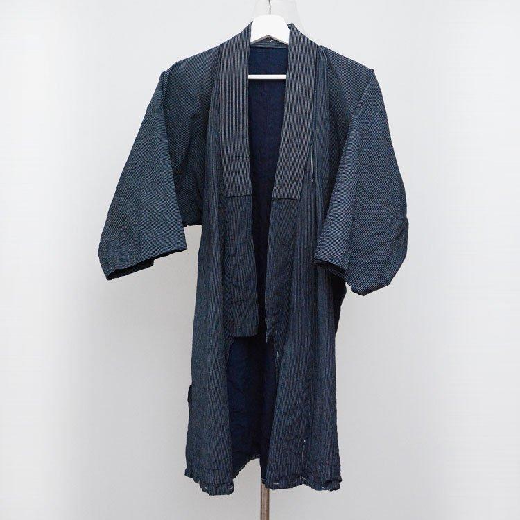 野良着 藍染 木綿 着物 縞模様 ジャパンヴィンテージ 大正 昭和初期 | Noragi Jacket Men Indigo Kimono Japan Vintage Cotton Stripe