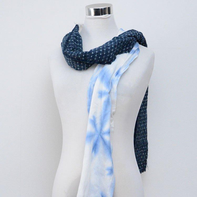 古布 リメイク スカーフ 雪花絞り 藍染 絣 木綿 ジャパンヴィンテージ ファブリック | Japanese Fabric Scarf Vintage Remake Shibori Kasuri