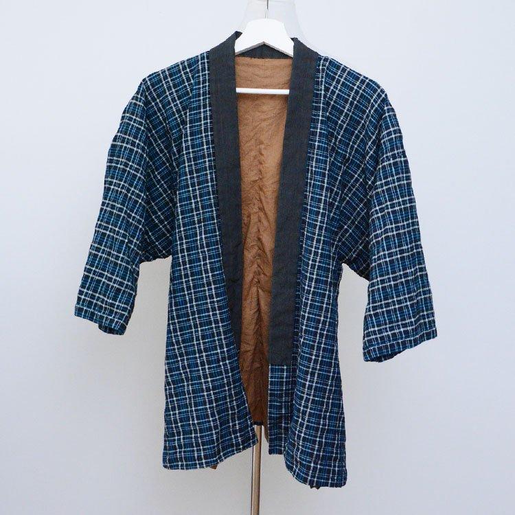着物 野良着 古着 格子 ジャパンヴィンテージ 昭和中期   Kimono Jacket Noragi Style Japanese Vintage