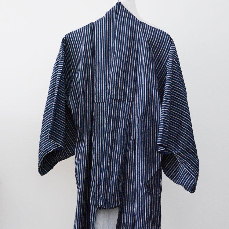 着物 しじら織 縞模様 広襟 ジャパンヴィンテージ 昭和中期〜後期 | Kimono Japanese Vintage Robe Long Shijira Woven Cotton Stripe