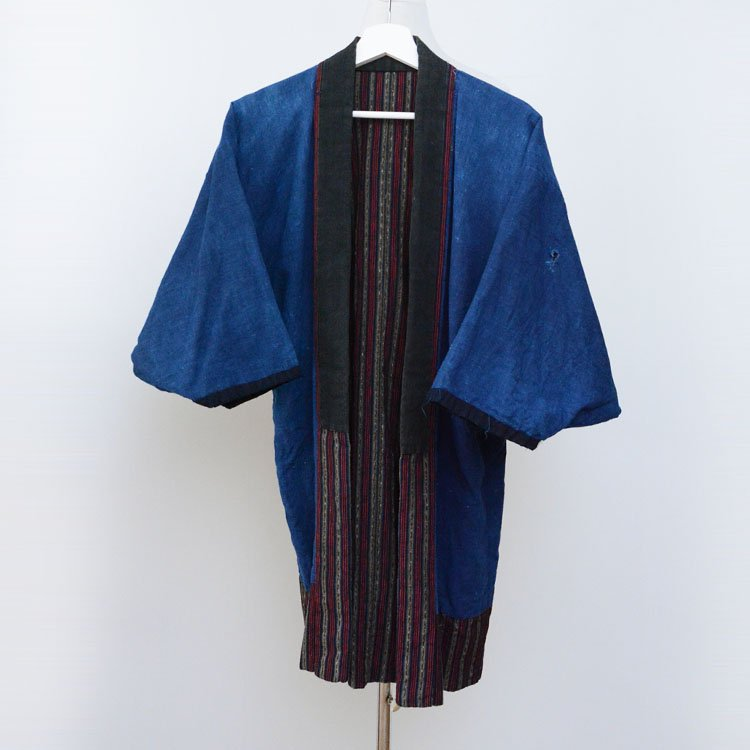 野良着 藍染無地 縞模様 ジャパンヴィンテージ 着物 大正 昭和 | Noragi Jacket Men Japanese Vintage Kimono Indigo Cotton Stripe