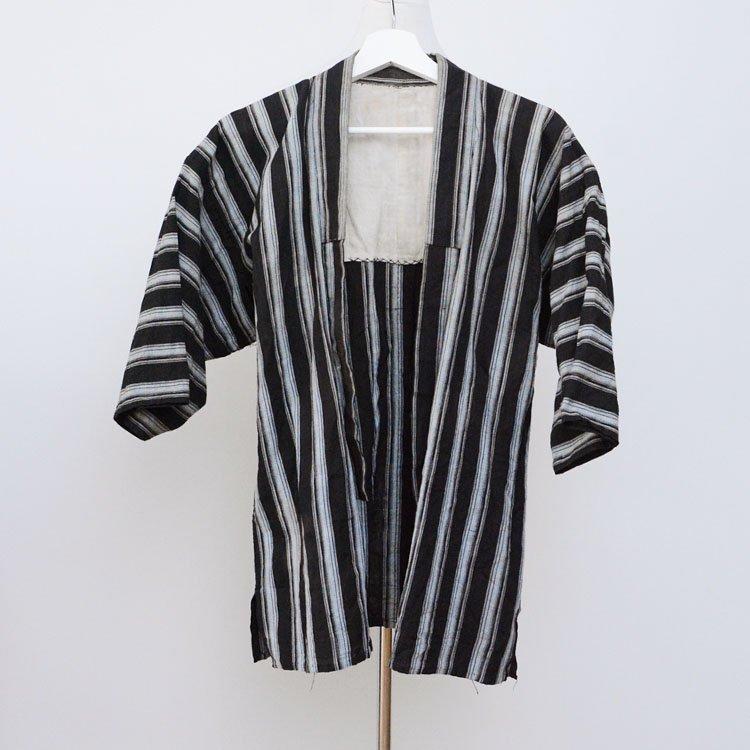 野良着 黒 縞模様 木綿 着物 ジャパンヴィンテージ 風呂敷 裏地 昭和中期 | Noragi Jacket Black Stripe Cotton Japan Vintage Kimono