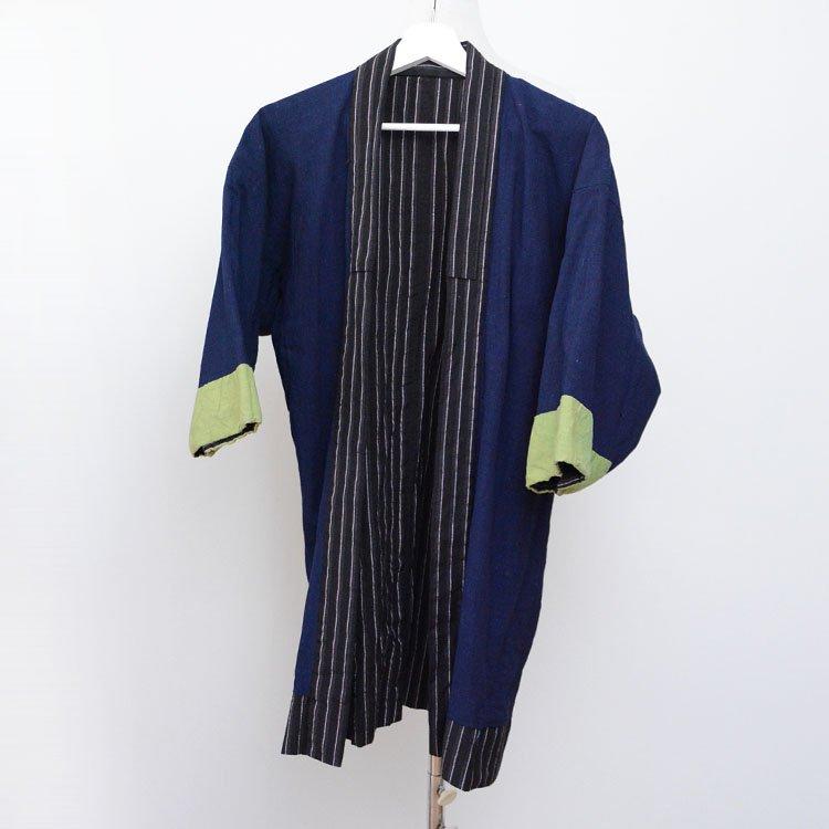 野良着 藍染無地 黒縞模様 ジャパンヴィンテージ 着物 大正 昭和 | Noragi Jacket Japanese Vintage Kimono Indigo Black Cotton Stripe