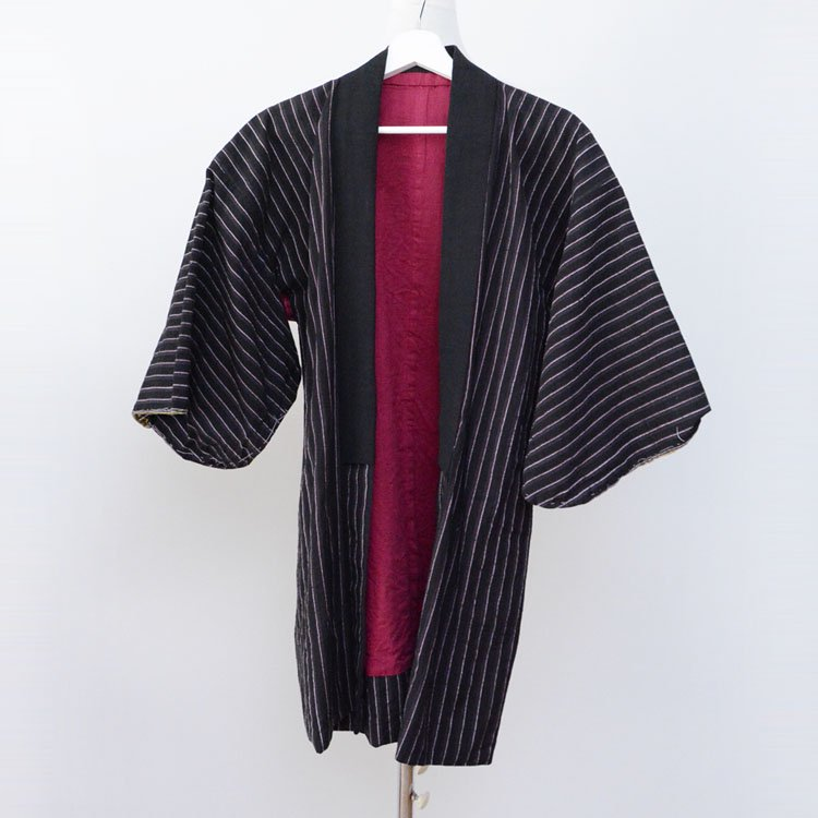野良着 古着 木綿 黒 縞模様 ジャパンヴィンテージ 着物 昭和 | Noragi Jacket Japan Vintage Kimono Cotton Stripe Black