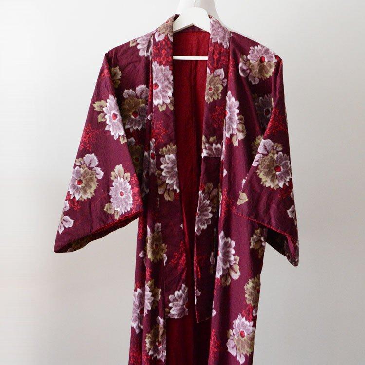 着物 ジャパンヴィンテージ 木綿 花柄 昭和中期 | Kimono Japanese Vintage Flower Pattern Fabric Cotton Long Robe