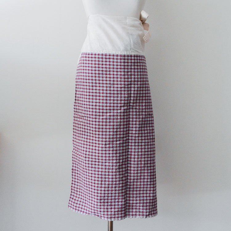古布 お腰 着物 裾よけ ジャパンヴィンテージ 木綿 格子生地 昭和 | Okoshi Kimono Japanese Vintage Cotton Fabric