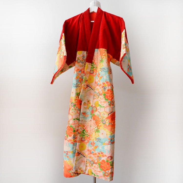 丹前 褞袍 綿入れ半纏 着物 花柄 亀甲 縁起物 ジャパンヴィンテージ 昭和中期 | Tanzen Dotera Hanten Padded Kimono Japanese Vintage