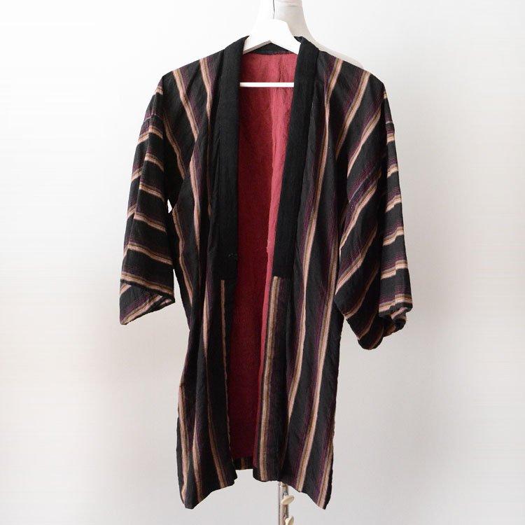 野良着 木綿 黒 縞模様 ジャパンヴィンテージ 着物 昭和 古着 | Noragi Jacket Japan Vintage Kimono Cotton Black Stripe