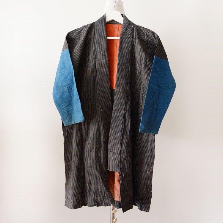 野良着 藍染 襤褸 縞模様 クレイジーパターン ジャパンヴィンテージ 鉄砲袖 着物 大正 | Noragi Jacket Crazy Pattern Japan Vintage Kimono Boro