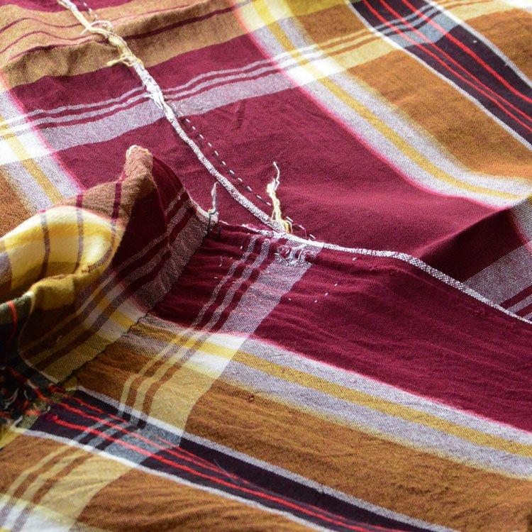 古布 木綿 ジャパンヴィンテージ ファブリック テキスタイル 格子模様 つぎはぎ リペア | Japanese Fabric Cotton Vintage Textile Check Pattern