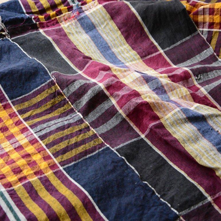 古布 木綿 ジャパンヴィンテージ ファブリック テキスタイル 格子 つぎはぎ | Japanese Fabric Cotton Vintage Textile Patchwork