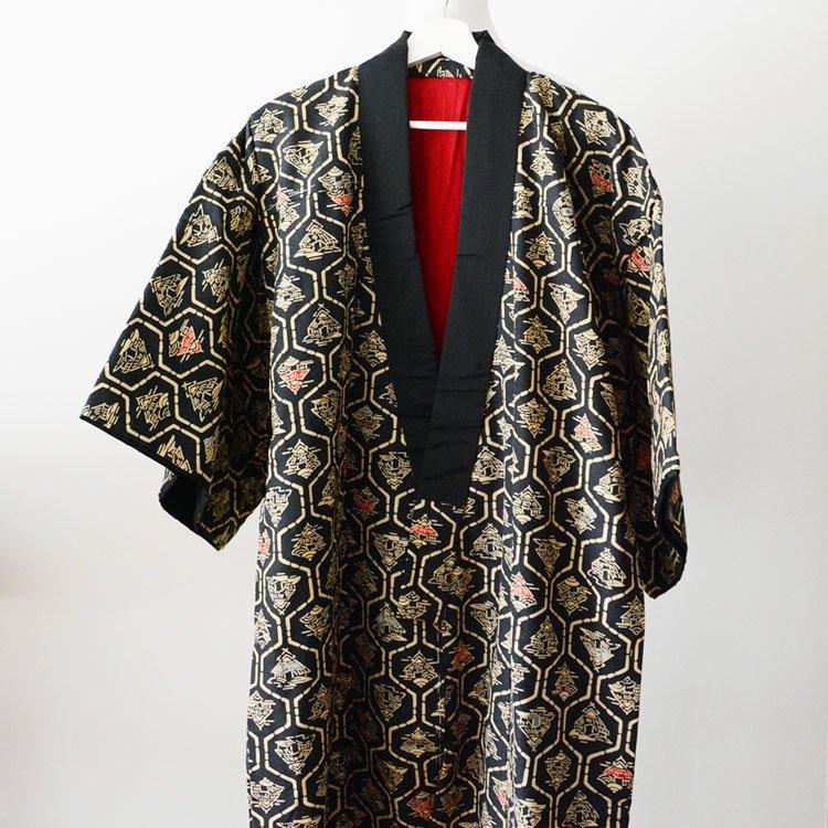 丹前 綿入れ半纏 ジャパンヴィンテージ 昭和中期 日本家屋柄 褞袍 掻巻 着物 | Tanzen Hanten Padded Kimono Japanese Vintage House Design