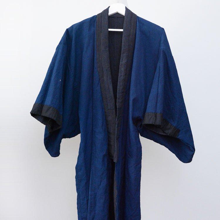 藍染 着物 木綿 無地 縞模様 ジャパンヴィンテージ 大正 昭和   Indigo Kimono Jacket Robe Cotton Japan Vintage
