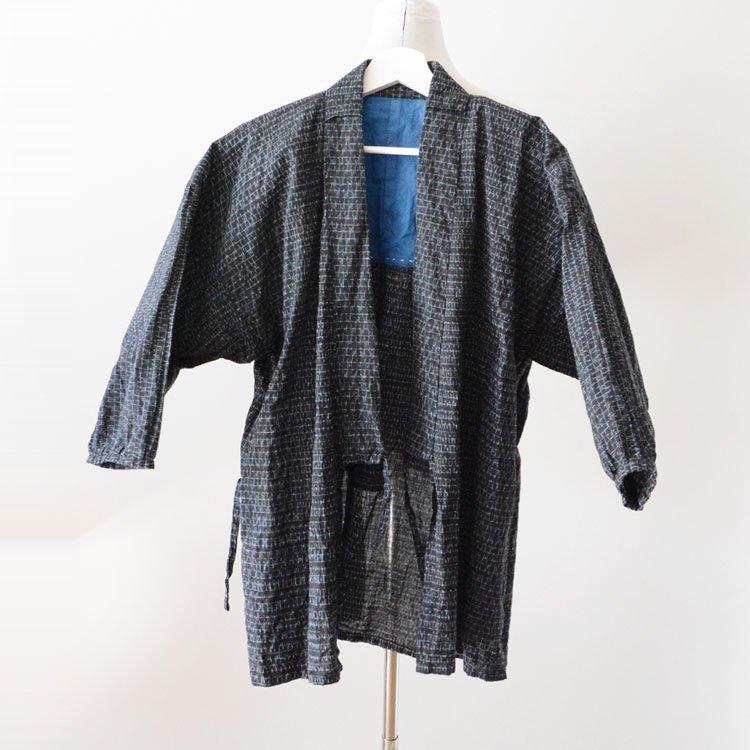 野良着 古着 絣 手ぬぐい 木綿 着物 上っ張り ジャパンヴィンテージ 昭和   Noragi Jacket Men Japanese Vintage Kimono Kasuri Fabric