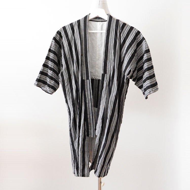 野良着 古着 クレイジーパターン 黒 縞模様 木綿 着物 ジャパンヴィンテージ 昭和 | Noragi Jacket Japan Vintage Kimono Black Stripe