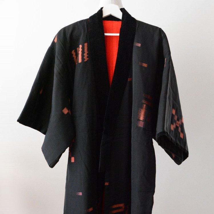 丹前 褞袍 掻巻 綿入れ半纏 着物 絣 黒 ジャパンヴィンテージ 昭和 | Tanzen Dotera Hanten Padded Kimono Kasuri Japan Vintage