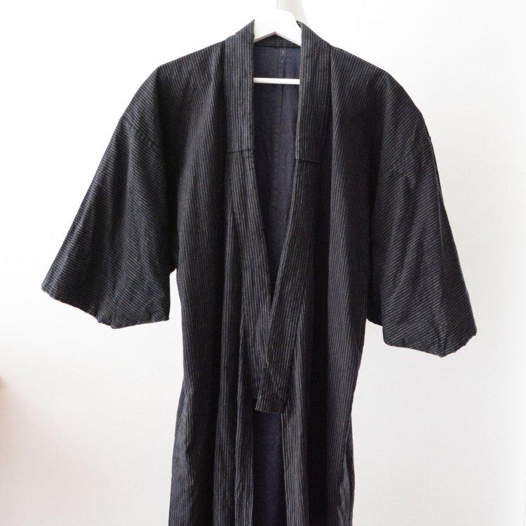 野良着 藍染 古着 木綿 縞模様 長着 着物 ジャパンヴィンテージ 大正 昭和 | Noragi Jacket Indigo Kimono Cotton Japan Vintage